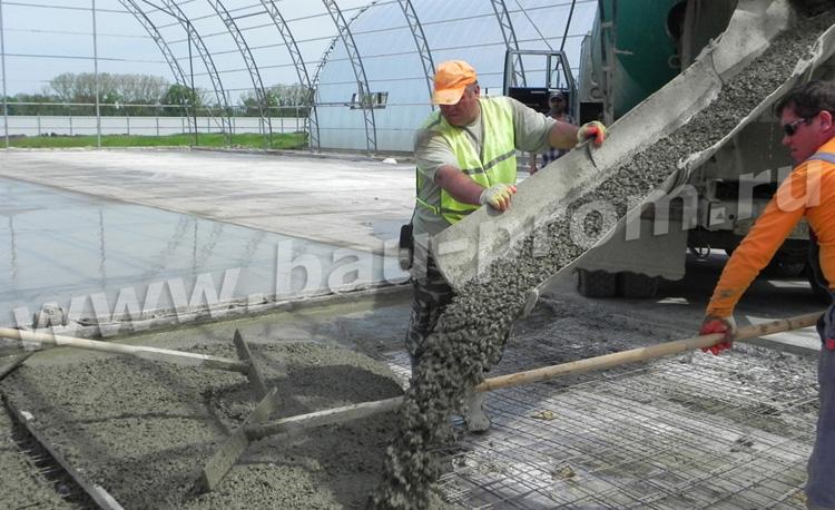 укладка бетона на армированное основание