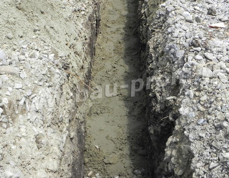траншея с песчаным основанием для прокладки ливневой канализации