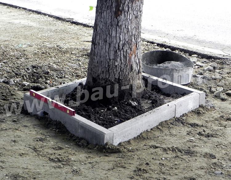 устройство ограждения вокруг дерева из садовых бордюров